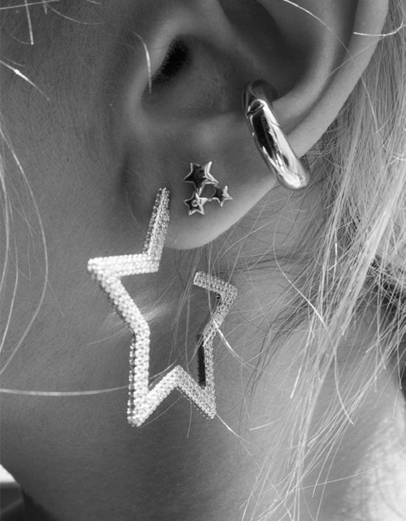 The Pave Star Hoops - Silver Plated