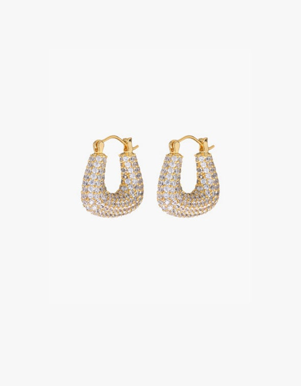 The Pave Tia Hoops - Gold Plated