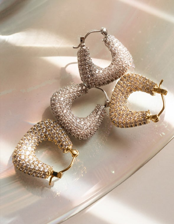 The Pave Tia Hoops - Silver Plated