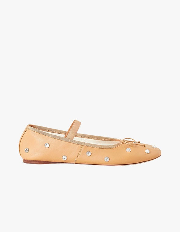 Leonie Ballet Flat - Caramel With Crystals