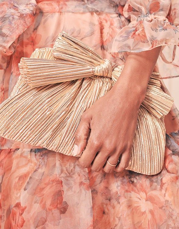 Rayne Pleated Clutch with Bow - Gold Pleated Lame