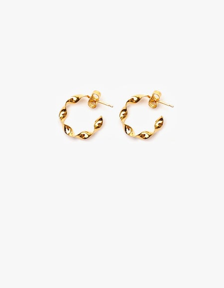 Twisted Hoop Small - Gold Plated