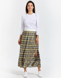 Sporty Houndstooth Pleated Skirt - Multi