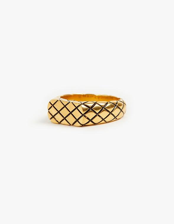 Slim Quilted Signet Ring - 14K Gold Plated
