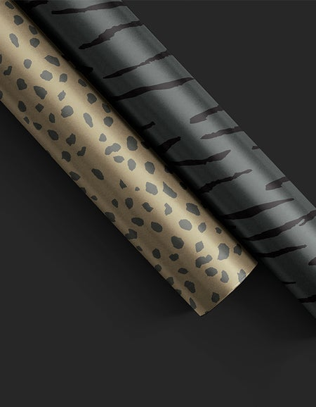 Cat Spots Wrapping Paper - Mid Khaki/Charcoal