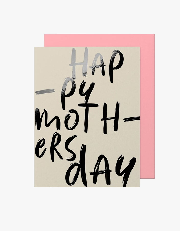 Hap-py Moth-ers Day Card - Ivory