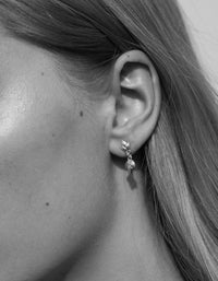 Etched 3 Leaves Drop Earrings Small - Silver