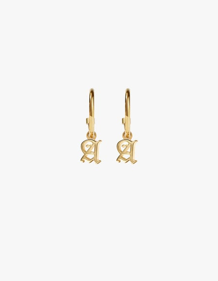 Mini Letter Signature Hoops - Gold Plated
