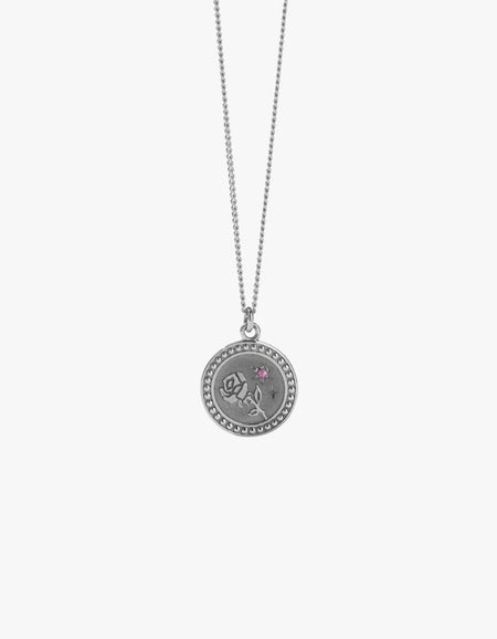 Amulet Love Necklace - Sterling Silver/Pink Sapphire