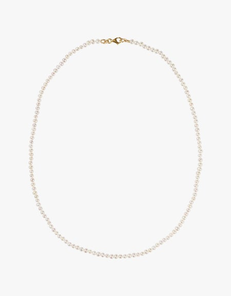Micro Pearl Necklace - 9ct Yellow Gold