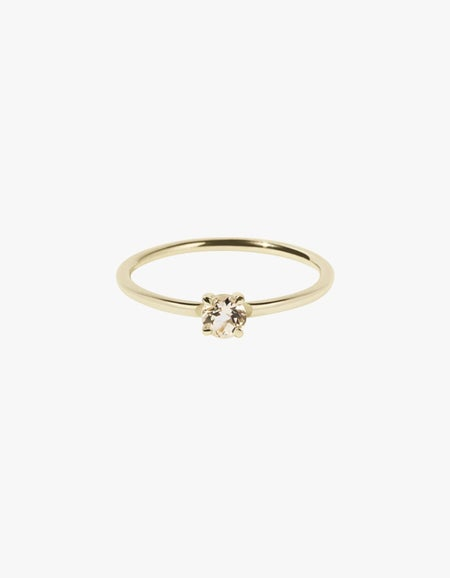Micro Round Ring - Gold Plated/Morganite