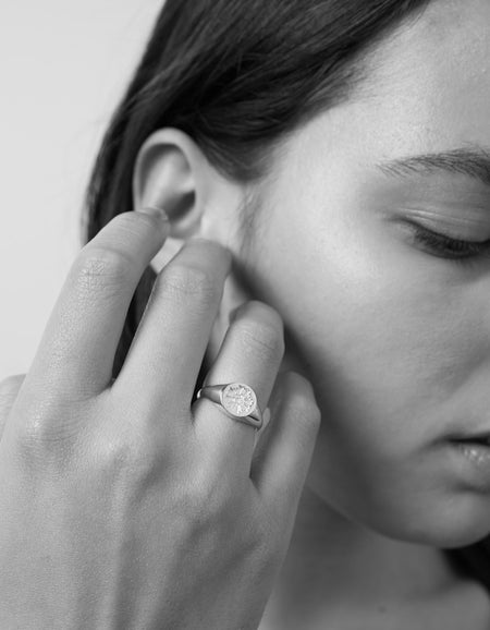August Signet Ring Embossed - Sterling Silver