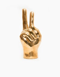 Peace Man Brass Hand - Polished Brass