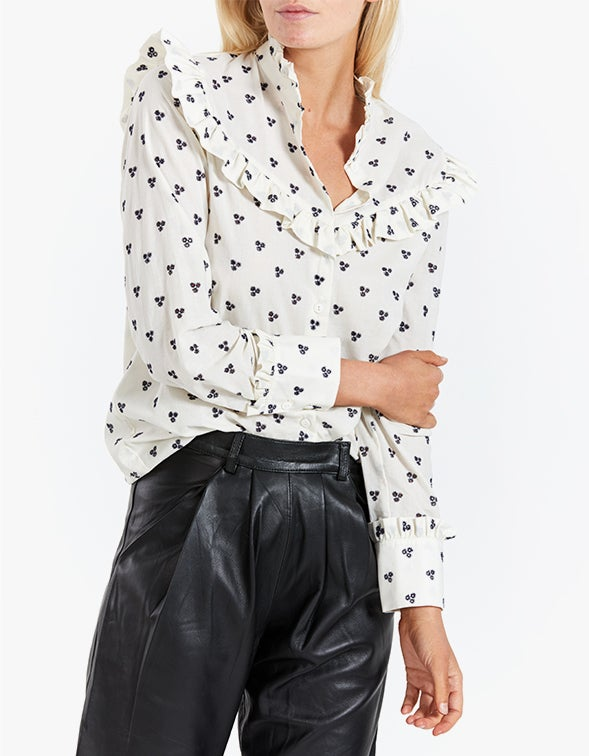 L/S Ruffle Detail Shirt - Ivory With Navy Embroidery