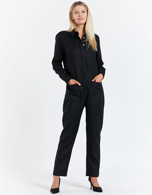 Collared All In One - Black Linen
