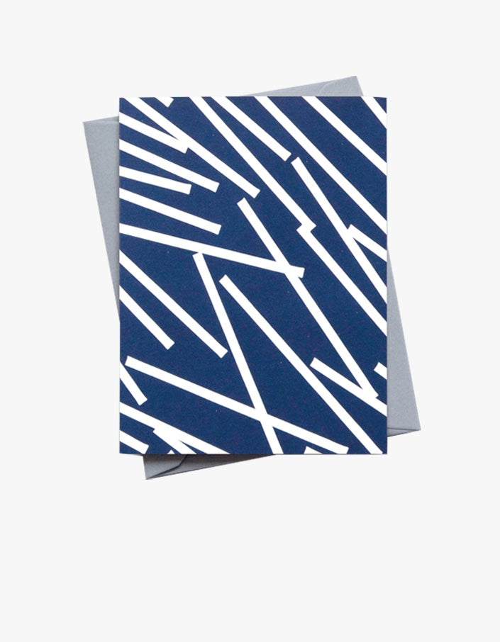Lines Small Patterned Card - Blue