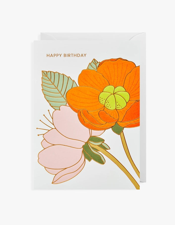 Birthday Flowers Card - Embossed