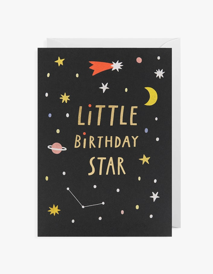 Little Birthday Star Card - Black