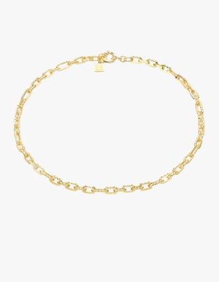Ramones Hammered Chain Necklace -18K Gold Plated