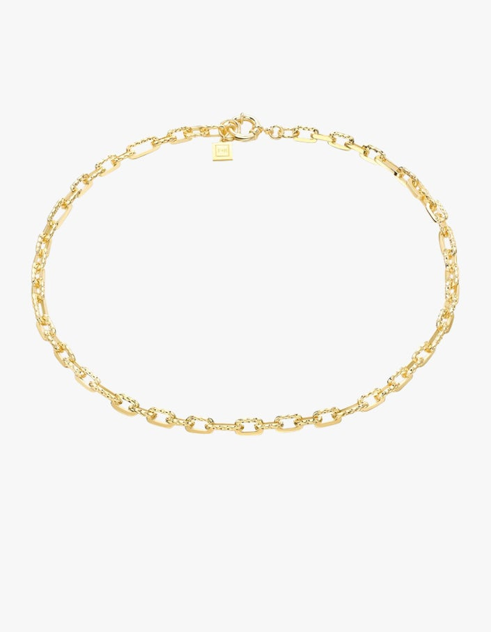 Ramones Hammered Chain Necklace -18K Gold Plated - Gold Plated