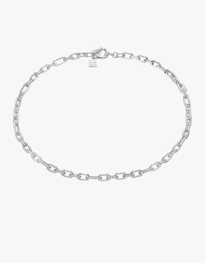 Ramones Hammered Chain Necklace - Sterling Silver Plated