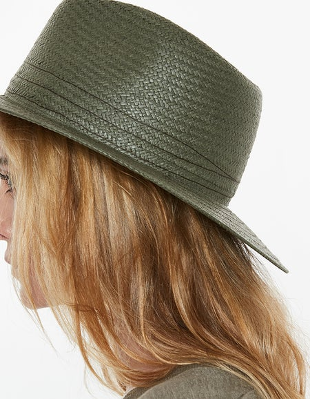 Packable Straw Fedora - Olive