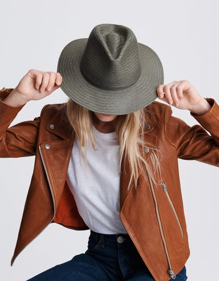 Packable Straw Fedora - Army Green