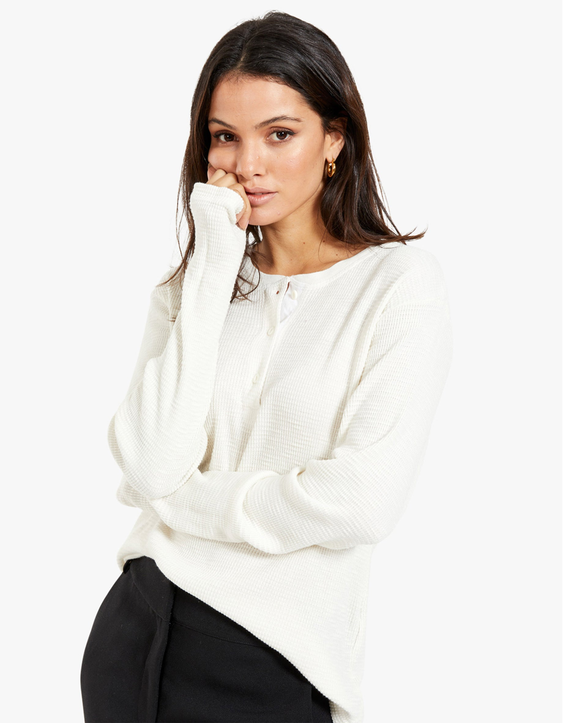 Henley Thermal Long Sleeve - Vintage White