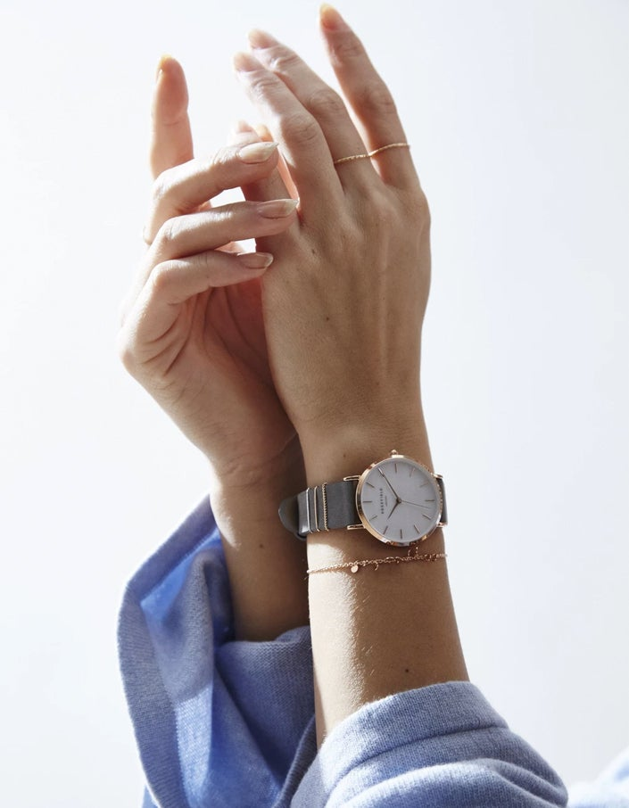 The West Village Watch - Elephant Grey/Rose Gold Plated