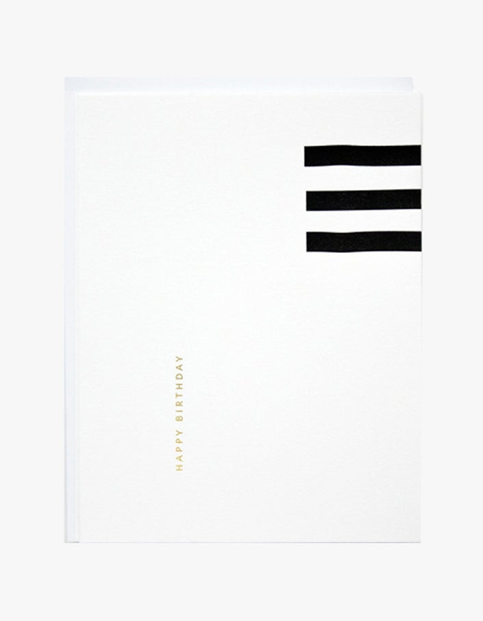 Happy Birthday Lines Card - White