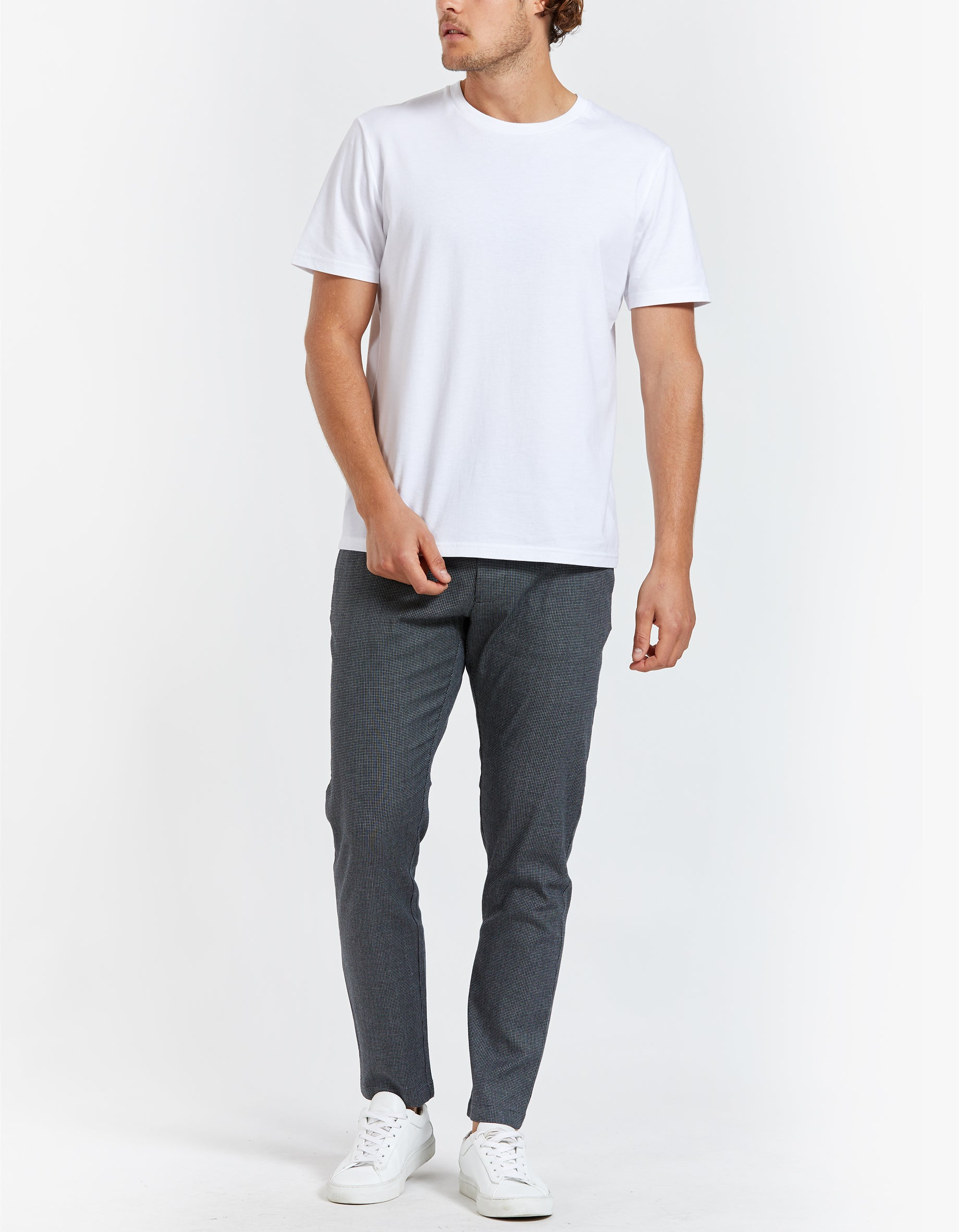 Andy X Trousers - Grey Melange Check