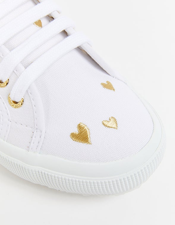 2750 Hearts Embroidery - White/Gold Hearts