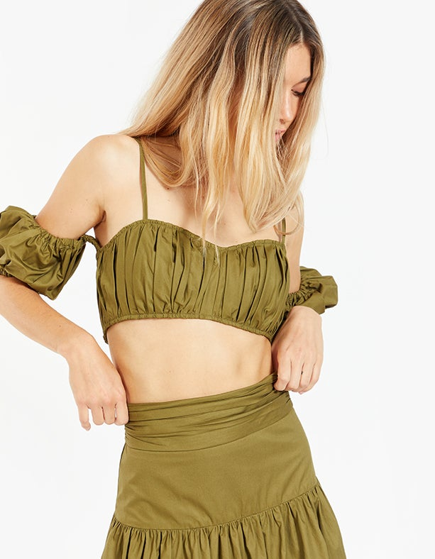 Amaia Ruched Crop Top - Olive