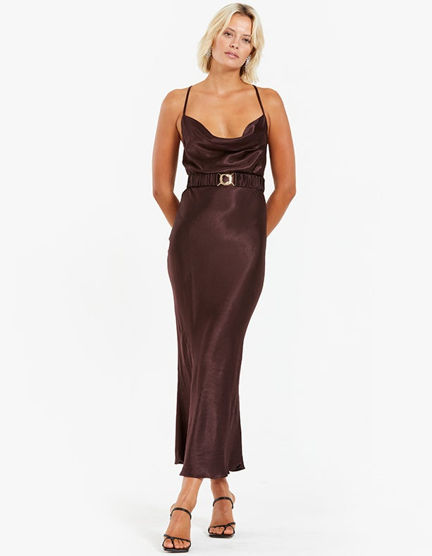 Giselle Bias Midi Dress With Belt - Chocolate