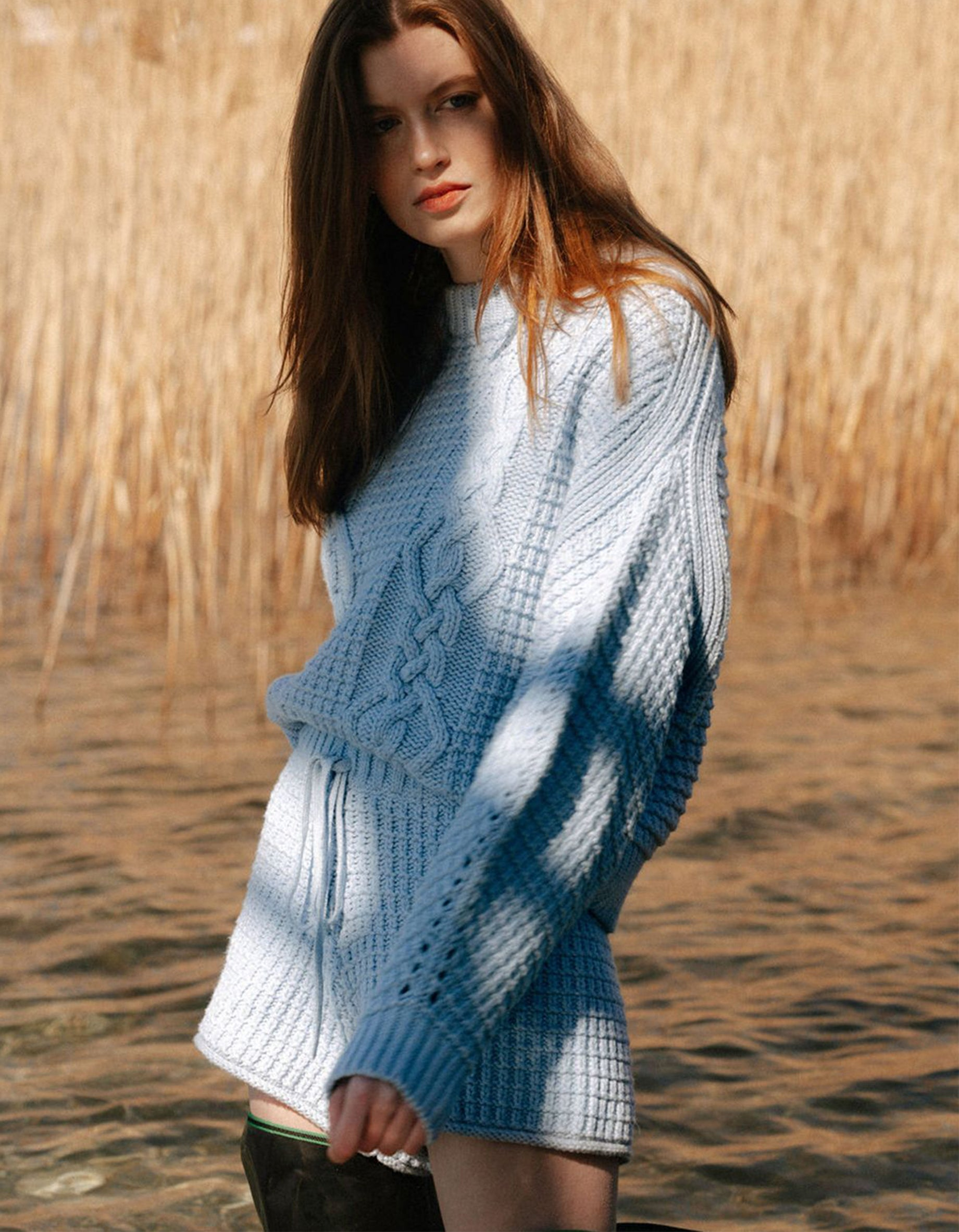 Willow Cocoon Sleeve Cable Jumper - Powder Blue