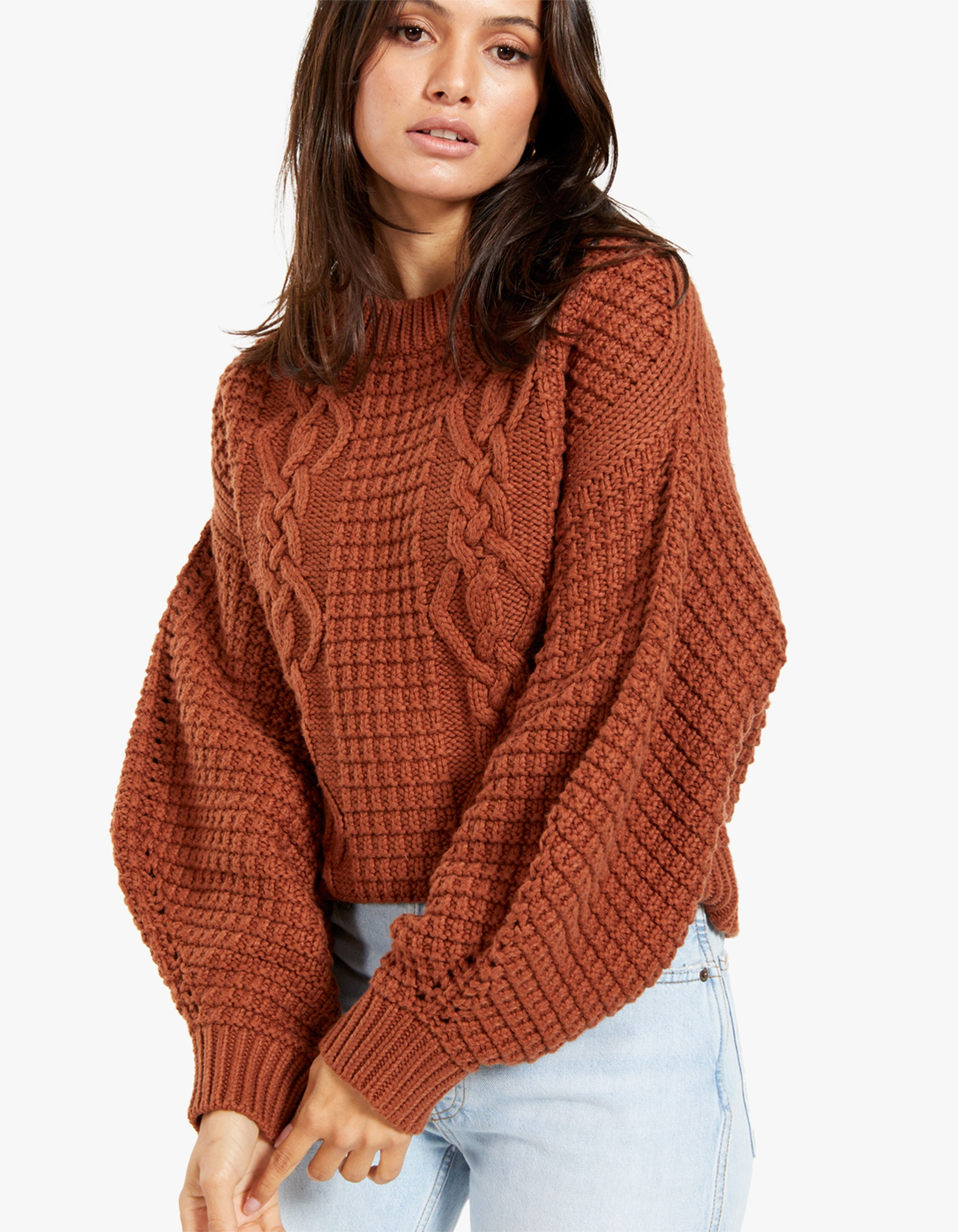 Willow Cocoon Sleeve Cable Jumper - Paprika