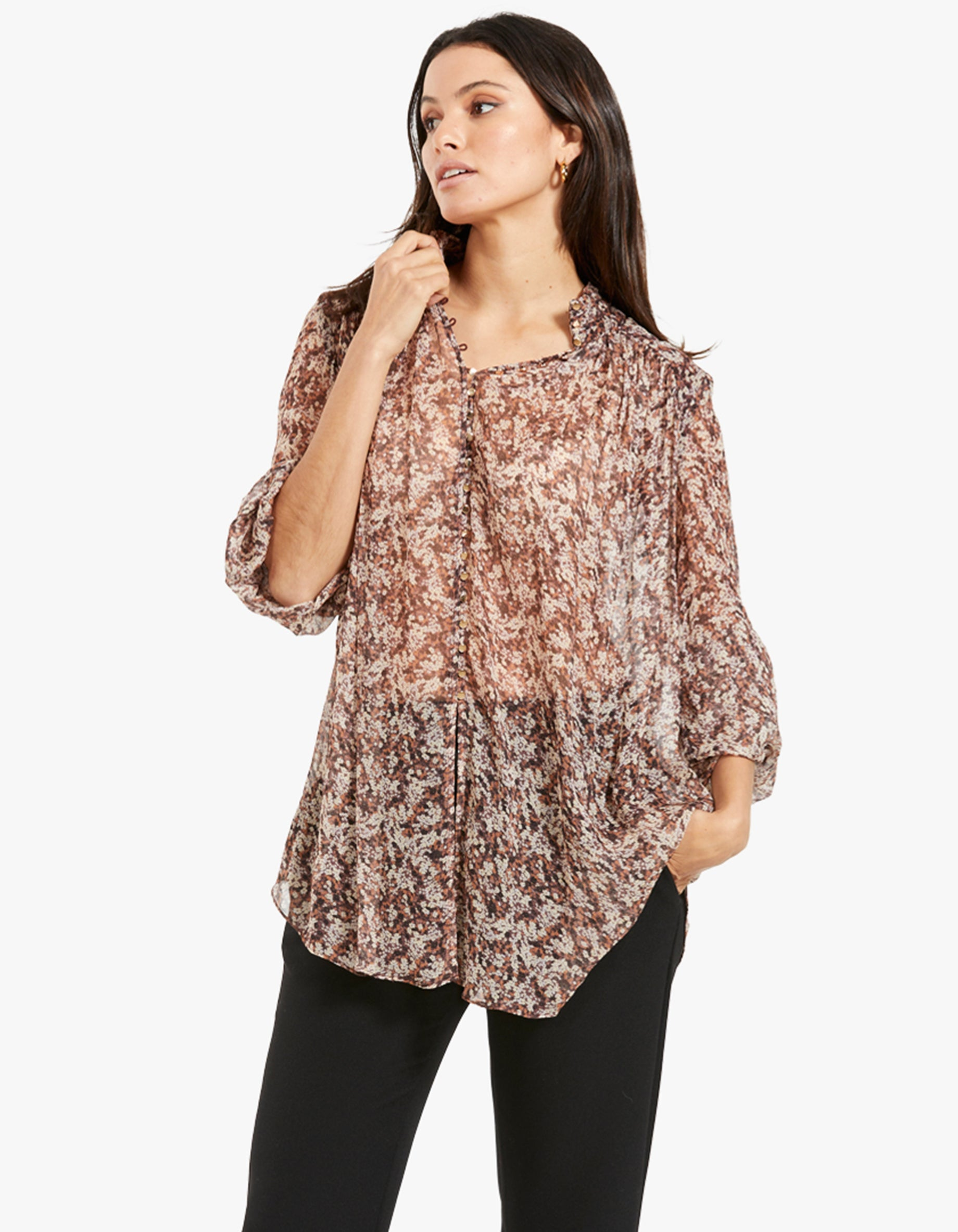 Blossom Button Up Blouse - Choc/Multi