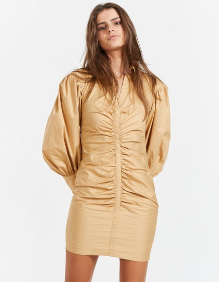 Grant Balloon Sleeve Ruched Dress - Camel
