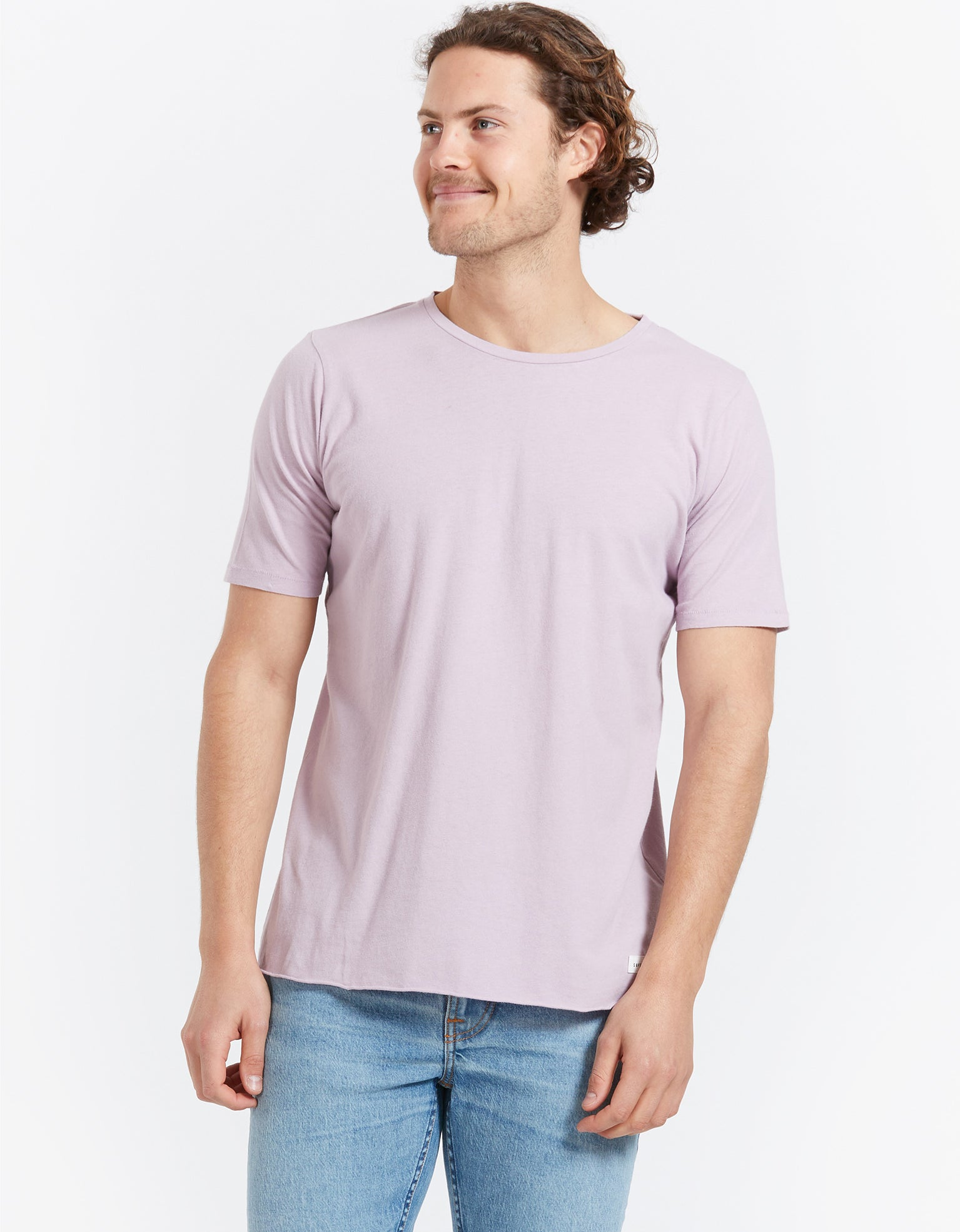 Mens Overdye Linen Tee - Washed Lilac