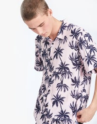Mens S/S Shirt - Yellow Floral