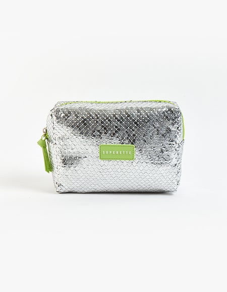 Metallic Carry-all - Silver/Neon