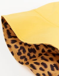Tilly Reversible Bucket Hat - Yellow/Leopard