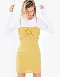 Bow Mini Dress - Ochre