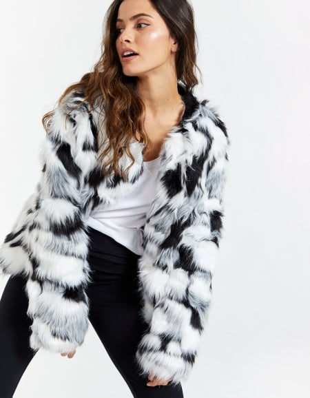 Faux Fur Jacket - Black/White