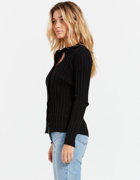 Lake Button Up Knit - Black
