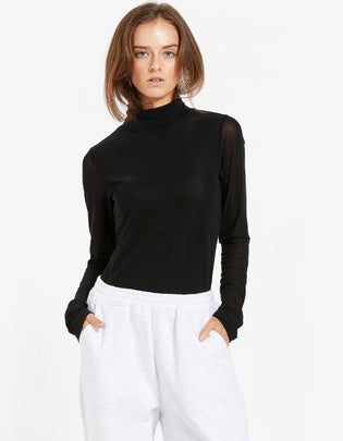 Soho High Neck Mesh Top