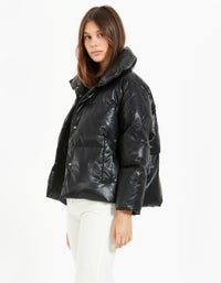 Virgo Faux Leather Puffer Jacket - Black