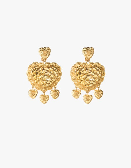 Dizzy Love Earrings - 24k Gold Plated/Metal Gold Stone