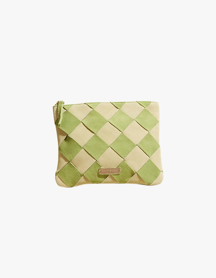 Rio Woven Clutch - Lime Suede