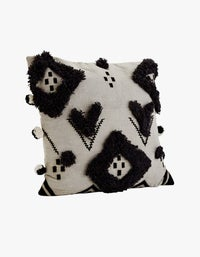 Cotton Cushion With Pompom -Grey/Black - Grey